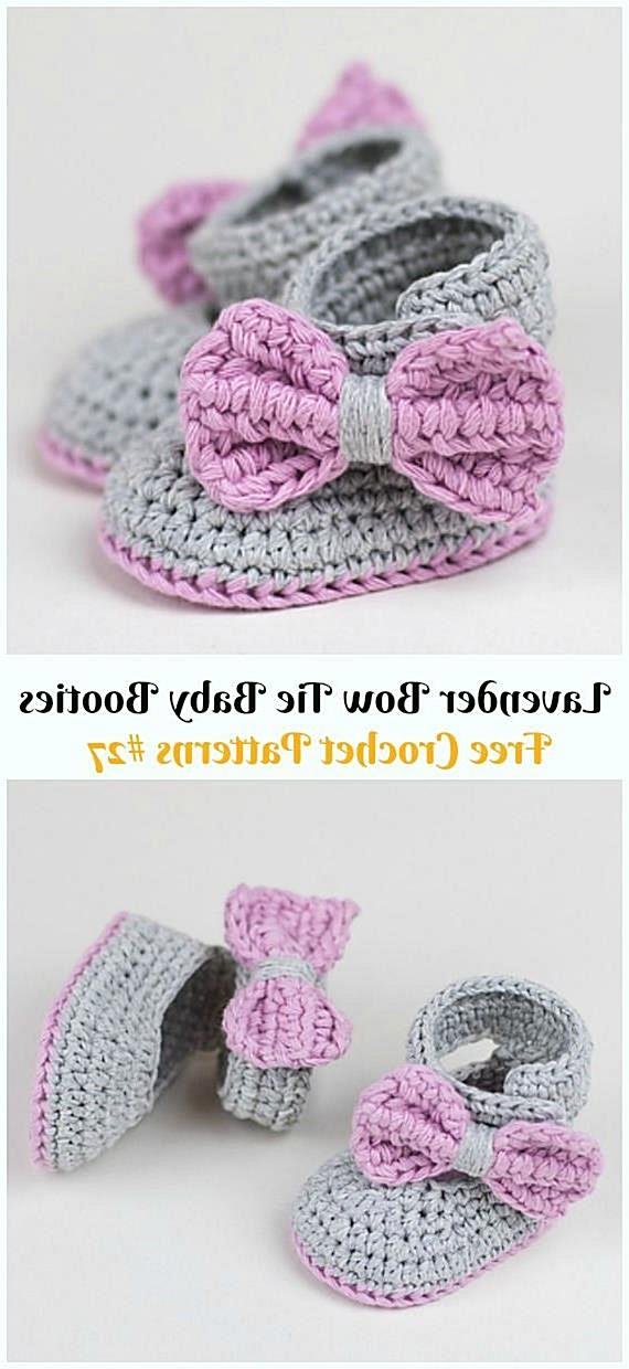 Lavender Bow Tie Baby Booties Crochet Free Pattern & Video - #Crochet; Ankle High Baby #Booties; Free Patterns