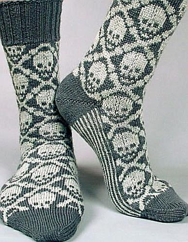 Ravelry: Hot Crossbones Socks pattern by Camille Chang