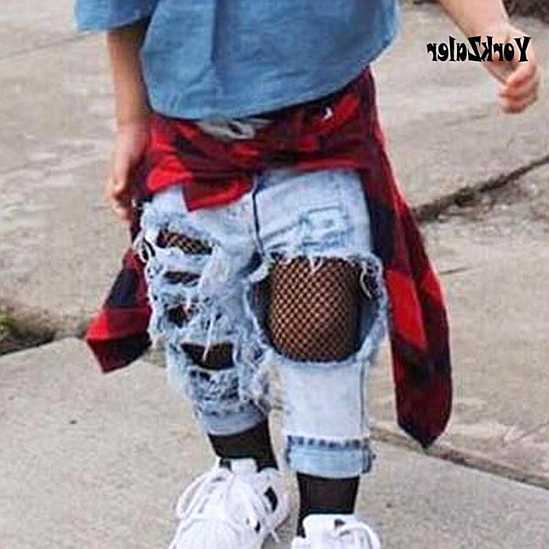 Summer Jeans For Girls Kids Jeans Female Ripped Pants Girls Infants Holes Long Trousers For Baby Girls Fashion Denim Pants New - B