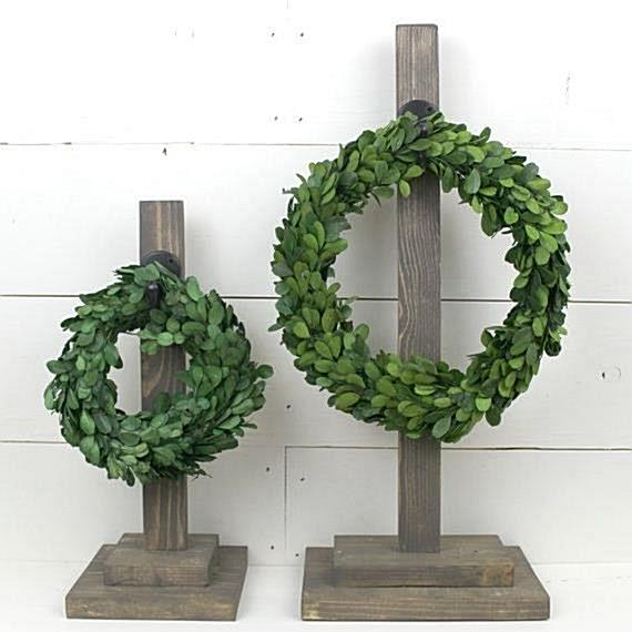 """Wreaths need a great place to be displayed. Especially these nice real preserved boxwood wreaths. Stands approx. 14"""" high and with"""